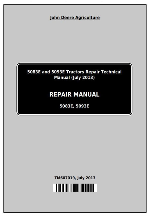 First Additional product image for - Deere Tractors 5083E and 5093E Service Repair Technical Manual (TM607019)