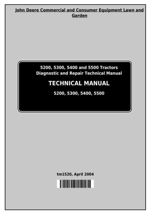 First Additional product image for - Deere Tractors 5200, 5300, 5400 and 5500 All Inclusive Diagnostic, Repair Technical Manual (tm1520)