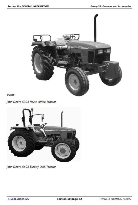 Fourth Additional product image for - Deere Tractors 5203S, 5303, 5403, 5503, 5310, 5310S, 5410, 5610 Technical Manual (TM900119)