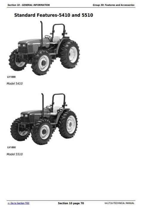 Third Additional product image for - Deere Tractors 5210, 5310, 5410, 5510 All Inclusive Diagnostic, Repair Technical Manual (TM1716)