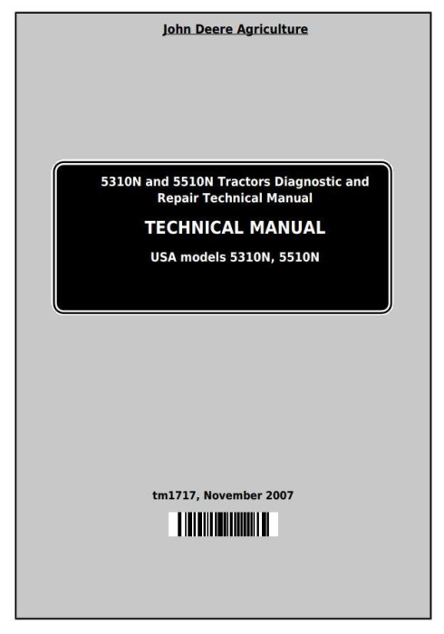 First Additional product image for - Deere Tractors 5310N, 5510N (North America) All Inclusive Technical Service Manual (tm1717)