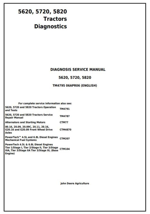 First Additional product image for - John Deere 5620, 5720, 5820 Tractors Diagnosis and Tests Service Manual (tm4795)