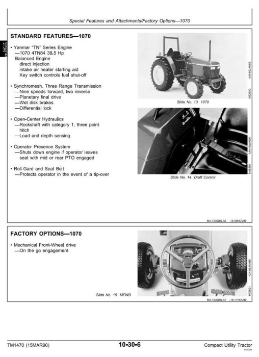 Second Additional product image for - John Deere 670, 770, 790, 870, 970, 1070 Compact Utility Tractors Technical Service Manual (tm1470)
