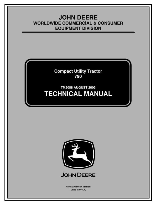First Additional product image for - John Deere 790 Compact Utility Tractors Technical Service Manual (tm2088)