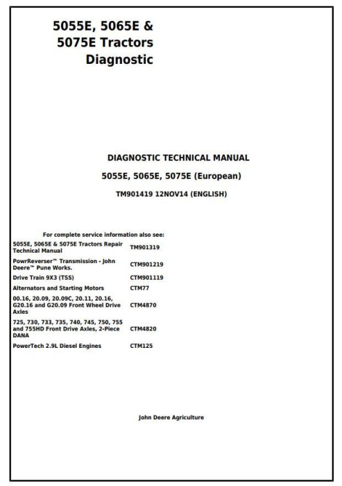 First Additional product image for - 5055E, 5065E & 5075E Europeran Tractors Diagnosis and Tests Service Manual (TM901419)