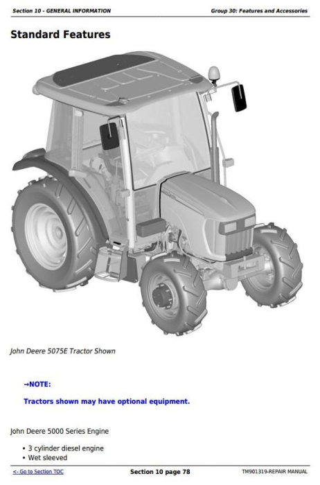 First Additional product image for - Deere Tractors 5055E, 5065E & 5075E (Europe) Technical Repair Service Manual (TM901319)
