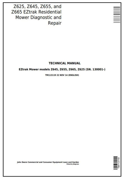 First Additional product image for - John Deere Z625, Z645, Z655, and Z665 EZtrak Residential Mower Diagnostic and EZtrak Residential Mower Riding Lawn Equipment Technical Manual (TM113119)