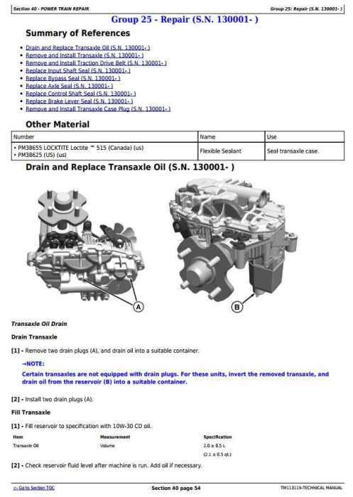 Third Additional product image for - John Deere Z625, Z645, Z655, and Z665 EZtrak Residential Mower Diagnostic and EZtrak Residential Mower Riding Lawn Equipment Technical Manual (TM113119)