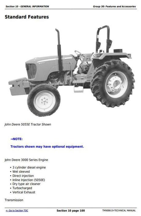 First Additional product image for - Deere Tractors 5050E, 5055E, 5060E, 5065E, 5075E, 5210, 5310 All Inclusive Technical Manual TM900619