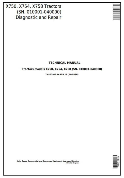 First Additional product image for - John Deere X750, X754, X758 Signature Series Tractors (SN.010001-040000)Technical Service Manual TM122919