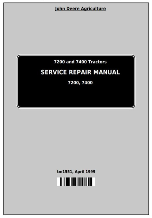 First Additional product image for - John Deere 7200 and 7400 2WD or MFWD Tractors Service Repair Manual (tm1551)
