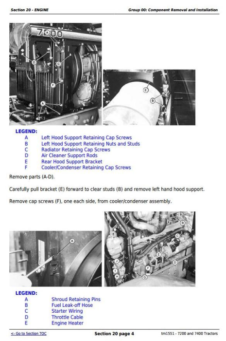Fourth Additional product image for - John Deere 7200 and 7400 2WD or MFWD Tractors Service Repair Manual (tm1551)