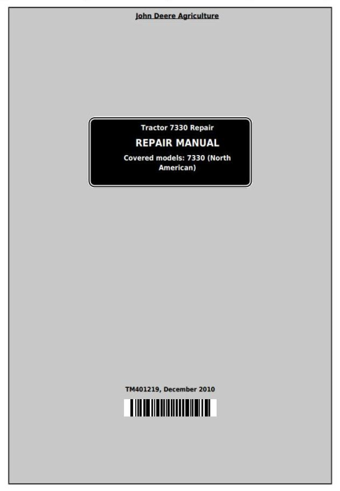 First Additional product image for - John Deere Tractor 7330 2WD or MFWD Tractors Service Repair Manual (TM401219)