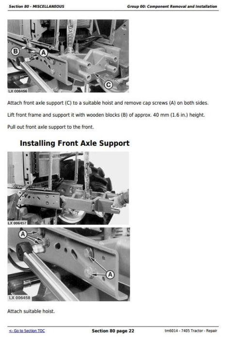 Third Additional product image for - John Deere 7405 Tractor Service Repair Technical Manual (tm6014)