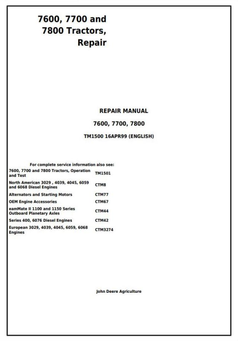First Additional product image for - John Deere 7600, 7700 and 7800 , 2WD or MFWD Tractors Service Repair Technical Manual (tm1500)