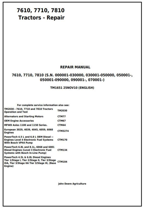 First Additional product image for - John Deere 7610, 7710, 7810 2WD or MFWD Tractors Service Repair Technical Manual (TM1651)