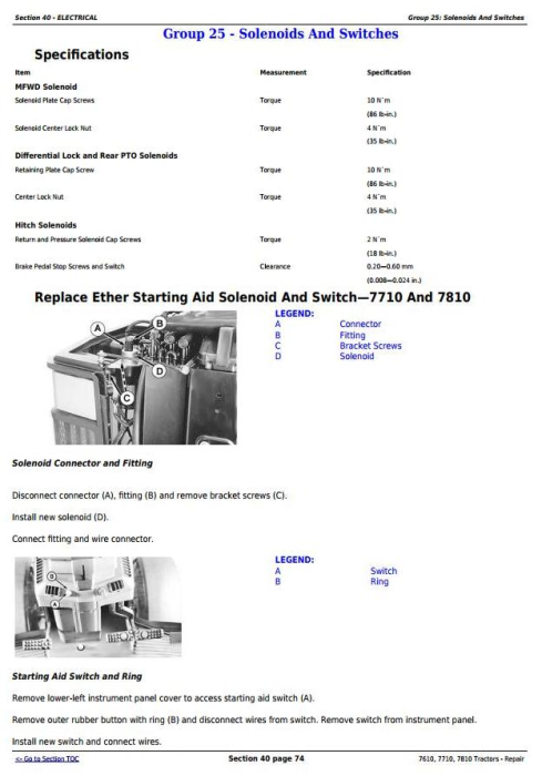 Second Additional product image for - John Deere 7610, 7710, 7810 2WD or MFWD Tractors Service Repair Technical Manual (TM1651)