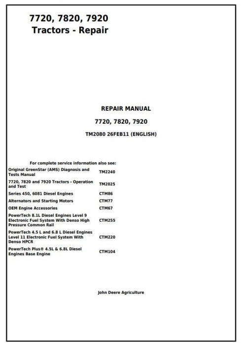 First Additional product image for - John Deere 7720, 7820, 7920 Tractors Service Repair Technical Manual (TM2080)