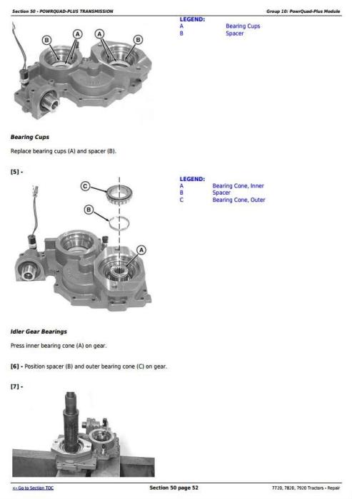 John Deere 7720, 7820, 7920 Tractors Service Repair