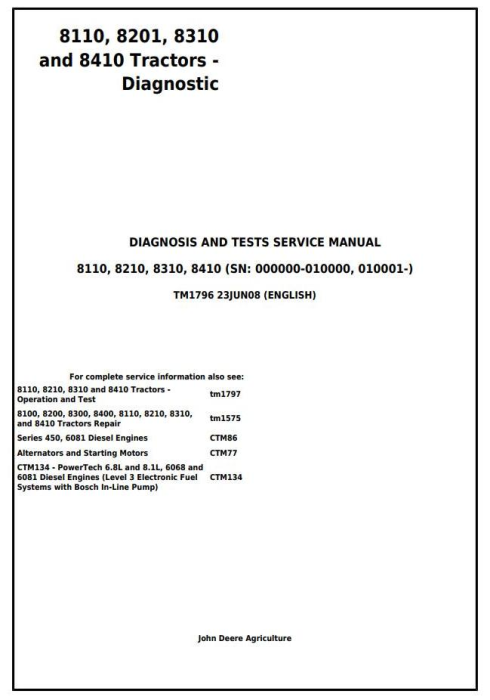 First Additional product image for - John  Deere 8110, 8210, 8310 and 8410 Tractors Diagnostic and Test Service Manual (tm1796)