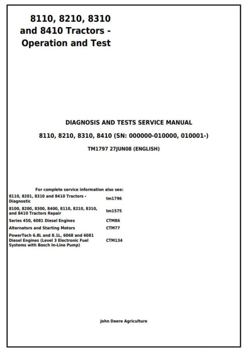 First Additional product image for - John Deere 8110, 8210, 8310 and 8410 Tractors Diagnostic Operation and Tests Service Manual (tm1797)