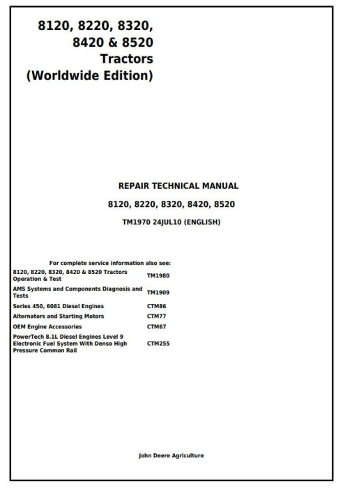First Additional product image for - John Deere 8120, 8220, 8320, 8420, 8520 (Worldwide Edition) Tractors Service Repair Manual (TM1970)