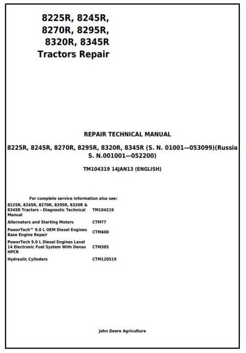 First Additional product image for - John Deere 8225R, 8245R, 8270R, 8295R, 8320R, 8345R Tractors Service Repair Technical Manual (TM104319)