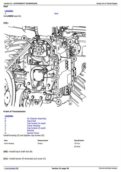 Third Additional product image for - John Deere 8295RT, 8320RT, 8345RT (SN. before 902500) Tractors Service Repair Technical Manual (TM104519)