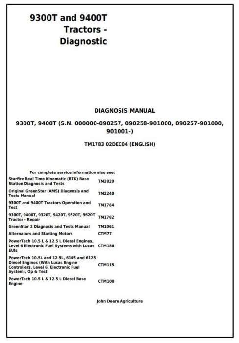 First Additional product image for - John Deere 9300T and 9400T Tracks Tractors Diagnosis and Tests Service Manual (tm1783)