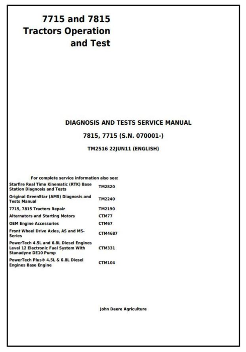 First Additional product image for - John Deere 7715, 7815 Tractors (SN. 070001-) Diagnostic, Operation and Test Service Manual (TM2516)