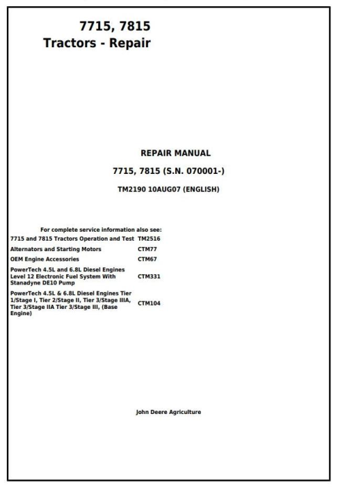 First Additional product image for - John Deere 7715, 7815 Tractors (SN. from 070001) Service Repair Technical Manual (tm2190)
