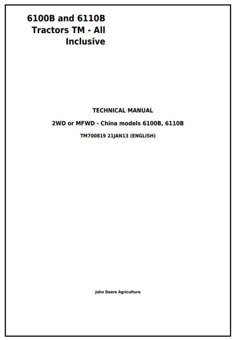 First Additional product image for - 6100B and 6110B China Tractors Service Repair Manual (TM700819)