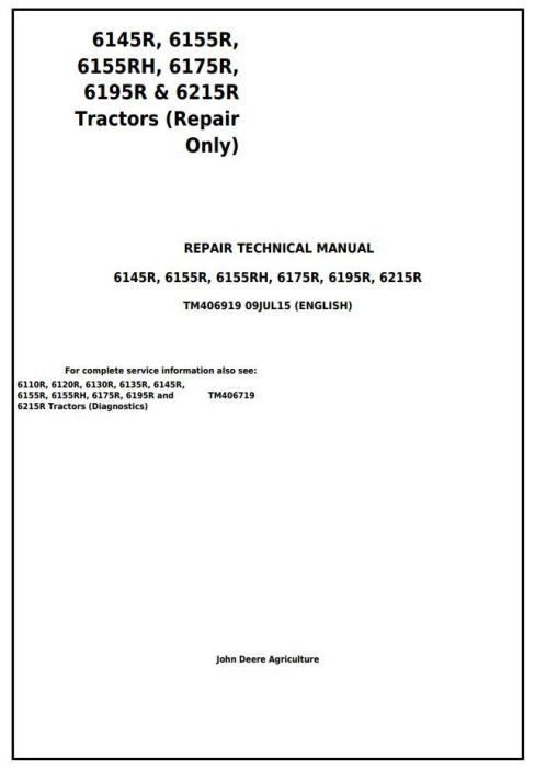 First Additional product image for - John Deere 6145R, 6155R, 6155RH, 6175R, 6195R, 6215R Tractors Repair Technical Manual (TM406919)