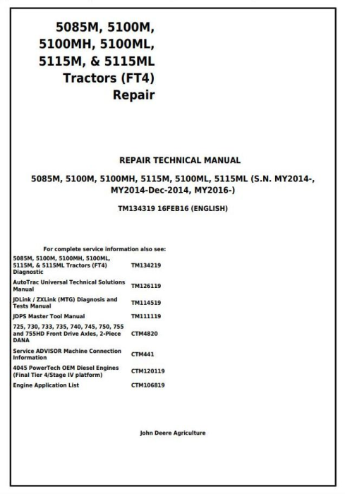 First Additional product image for - 5085M, 5100M, 5100MH, 5100ML, 5115M, 5115ML (FT4) Tractor Service Repair Manual (TM134319)
