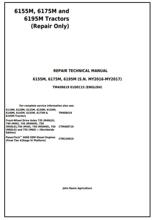 First Additional product image for - John Deere Tractors Models 6145M, 6155M, 6175M, 6195M Tier 2 Service Repair Technical Manual (TM408619)