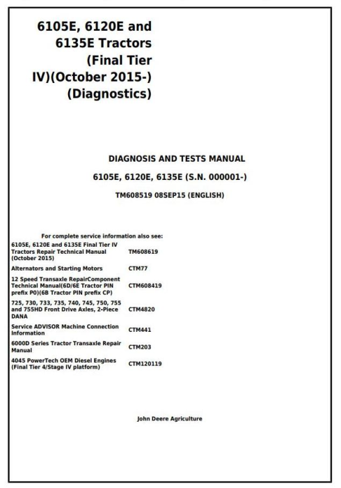 First Additional product image for - John Deere 6105E, 6120E, 6135E (Final Tier IV) Tractors Diagnosis & Tests Service Manual (TM608519)