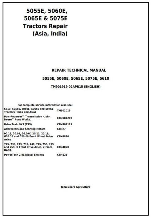 First Additional product image for - John Deere 5055E, 5060E, 5065E & 5075E (Asia, India) Tractors Service Repair Manual (TM901919)