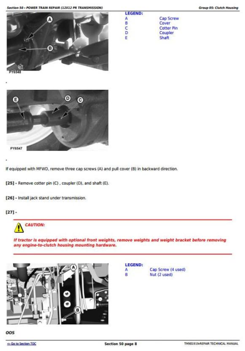 Second Additional product image for - John Deere 5055E, 5060E, 5065E & 5075E (Asia, India) Tractors Service Repair Manual (TM901919)