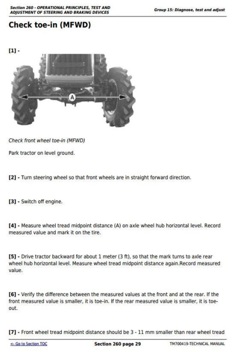 Third Additional product image for - Deere Tractors 280, 284, 300, 304, 320, 324, B350 All Inclusive Technical Service Manual (TM700419)