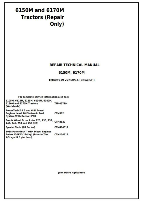 First Additional product image for - John Deere 6150M and 6170M 2WD or MFWD Tractors Service Repair Technical Manual (TM405919)