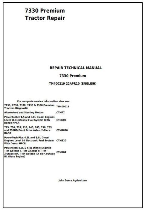 First Additional product image for - John Deere 7330 Premium 2WD or MFWD USA Tractors Repair Manual (TM400219)