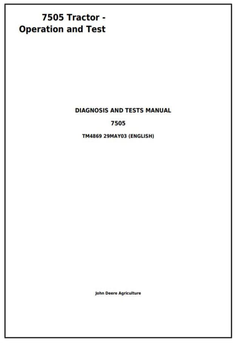 First Additional product image for - John Deere 7505 Tractors - Diagnosis and Tests Service Manual (tm4869)