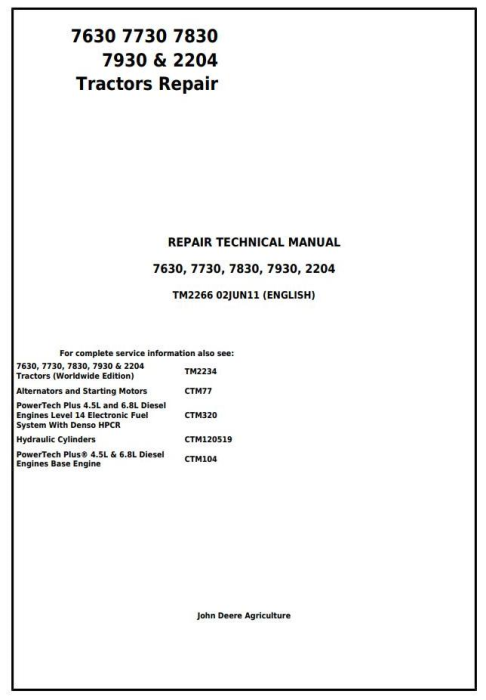 First Additional product image for - John Deere 7630, 7730, 7830, 7930, 2204 2WD or MFWD Tractors Service Repair Manual (TM2266)