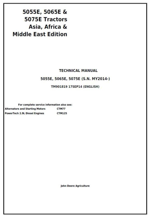 First Additional product image for - John Deere 5055E, 5065E, 5075E Asia, Africa, Middle East Edition Tractors Technical Manual (TM901819)