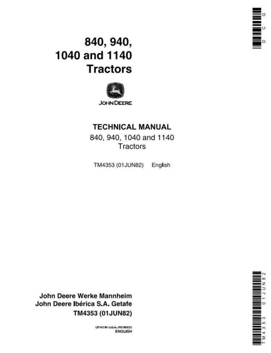 First Additional product image for - John Deere 840, 940, 1040 & 1140 Tractors Technical Service Manual (tm4353)