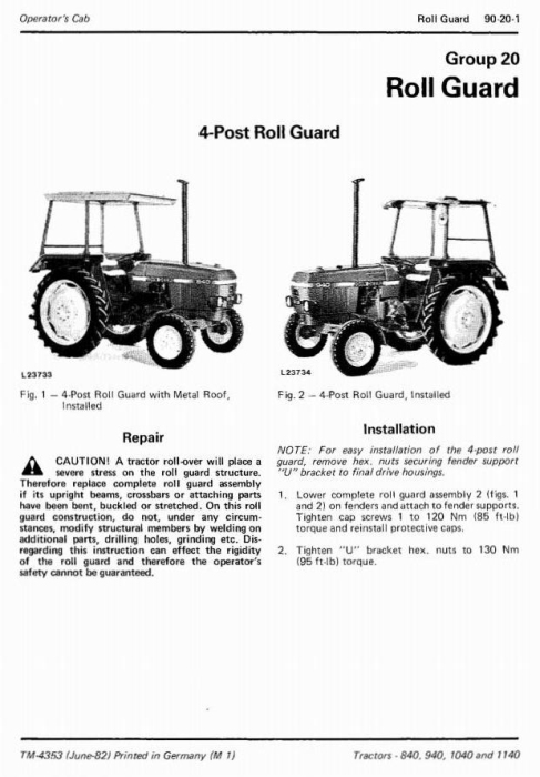 Fourth Additional product image for - John Deere 840, 940, 1040 & 1140 Tractors Technical Service Manual (tm4353)