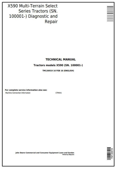 First Additional product image for - John Deere X590 Multi-Terrain Select Series Tractors (SN.100001-) Technical Service Manual (TM136919)