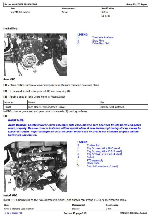 Second Additional product image for - John Deere X750, X754, X758  Signature Series Tractors (SN.040001-) Technical Sevice Manual (TM142419)