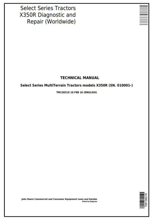 First Additional product image for - John Deere X350R Select Series Riding Lawn Tractors (Worldwide) Technical Service Manual (TM138219)