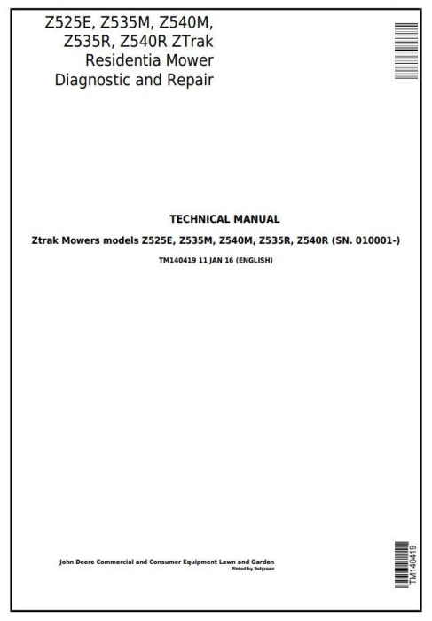 First Additional product image for - John Deere Z525E, Z535M, Z540M, Z535R, Z540R ZTrak Riding Lawn Mower Technical Service Manual (TM140419)